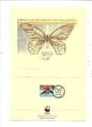 LOT DE 4  TIMBRES WWF  PAPILLON  SUR FICHES DU WWF - Papillons
