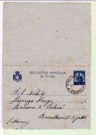 Biglietto Postale 5 Lire Blu  B39  1946 - Messina Barcellona Pozzo Di Gotto - 5. 1944-46 Luogotenenza & Umberto II