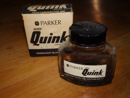 Flacon D´encre Noire, Permanent Black Ink, PARKER Super Quink, Contains Solv-x, Flacon Vide, Etat D´usage - Encriers