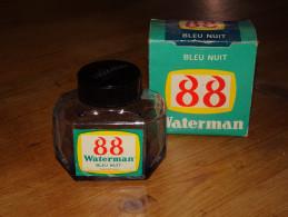 Flacon D´encre Bleu Nuit WATERMAN 88, Made In France JIF Paris, Flacon Vide, Etat D´usage, Ink Blue Night - Encriers