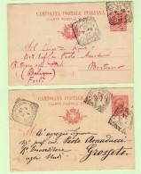 2 Cartoline Postali Viaggiate - C33  1908  Fano Grosseto Casalecchio Bertinoro - Interi Postali