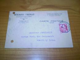 Carte Commerciale De Bérard Frères à Saint Laurent En Royans,Drôme. Cachet St Laurent En Royans Sur Marianne Gandon 15f - Commercio