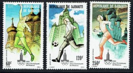 1980  Jeux Olympiques De Moscou : Monuments, Basketball, Football, Course ** - Gibuti (1977-...)