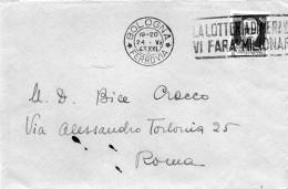 1943 LETTERA CON ANNULLO  BOLOGNA + TARGHETTA LA LOTTERIA DI MERANO - Storia Postale