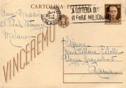 1943 CARTOLINA CON ANNULLO  MILANO + TARGHETTA LA LOTTERIA DI MERANO - Interi Postali