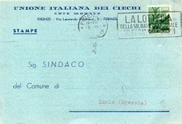 CARTOLINA INTESTATA UNIONE ITALIANA DEL CIECHI CON ANNULLO FIRENZE + TARGHETTA LA LOTTERIA DELLA SOLIDARIETÀ - 6. 1946-.. Repubblica