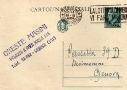 1941  CARTOLINA CON ANNULLO GENOVA +  TARGHETTA LA LOTTERIA DI MERANO - Interi Postali