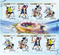 Lote 42c, Colombia, 2012, Juegos Olimpicos De Londres, Sport, Olympic Sheet, 8 Stamps, London - Colombie