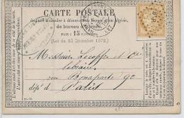 CTN45C - CPO MOD. 18 CHARTRES /  PARIS 16/2/1876 - Entiers Postaux