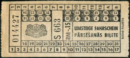 Russia USSR Latvia Lettland Germany Deutschland Occupation WW2 Ostland RIGA Tram Ticket Strassenbahn Fahrschein Railway - Tramways