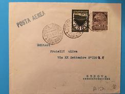 BUSTA POSTALE-RODI-EGEO X GENOVA-POSTA AEREA -CENT.50+50 - Egeo (Rodi)