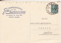 130-C.P.-L.20 Siracusana Testo Lungo, Soprastampa Privata-v.1959 Da Reggio Calabria A Pinerolo Timbrata In Arrivo - Interi Postali