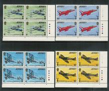 JERSEY 1975 JERSEY RAF ASSOCIATION 50th Anniversary Cylinder Blocks Of 4 U/Mint (**) - Jersey