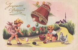 JOYEUSES PÂQUES---cloche Enfants Oeufs Poussins Poule Village--voir 2 Scans - Easter