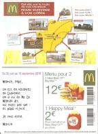 Pub - M Donald's Charente : Carte De Réduction -du 30 Juin Au 10 Septembre 2016 - [carte Du Département] - McDonald's