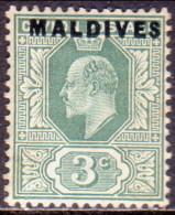 MALDIVES 1906 SG #2 3c MLH CV £38 Ceylon Stamp Overprinted - Maldives (...-1965)