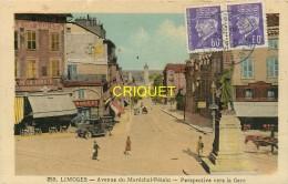 87 Limoges, Avenue Pétain, Vieil Utilitaire Evaus...., Carte Colorisée Affranchie 2 Pétains 1942 - Limoges