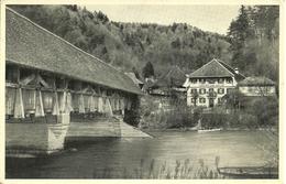 Gummenen (Berne, Svizzera) Saanebrucke Mit Gasthof Zum Kreuz, View, Ansicht, Vue, Panorama - BE Berne