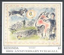 Redonda - 1987 Marc Chagall Block (2) MNH__(TH-17824) - Antigua And Barbuda (1981-...)