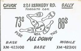 Bowling Strike On Old QSL Card From Chuck & Sally, Kennedy Rd., Toronto, Canada (1967) - CB