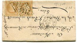 RHONE De LYON LES BROTTEAUX LAC Du 27/06/1869 Avec N°28 En Paire Oblitérés GC 2145 B - Marcophilie (Lettres)