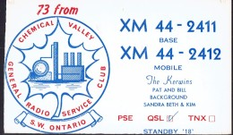 Old QSL Card From The Kerwins, Ceceil St. (The Chemical Valley, General Radio Service Club, SW Ontario) (1967) - CB