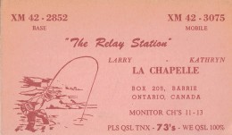 Fisherman On Old QSL Card From Larry & Kathryn La Chapelle, Barrie, Ontario, Canada (1967) - CB