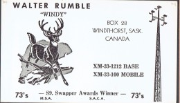 Cerf, Deer On Old QSL Card From Walter Rumble (Windy), Windthorst, Sask., Canada (1967) - CB