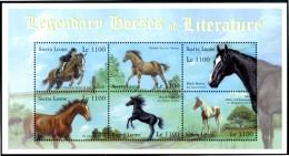 SIERRA LEONE 2001** - Cavalli / Horses -  Block MNH Come Da Scansione - Cavalli