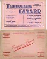 39 : Lot De Deux Buvards Différents De La Teinturerie Fayard à Lons Le Saunier 13 Rue De La Chevalerie - Carte Assorbenti