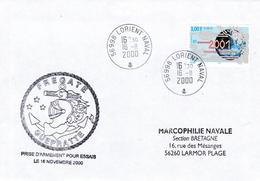 GUEPRATTE PRISE D'ARMEMENT POUR ESSAIS LORIENT 26/11/2000  TIMBRE NOUVEAU MILLENAIRE - Marcophilie (Lettres)