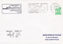 FREGATE COURBET PREMIERE  SORTIE A LA MER LORIENT 27/9/95 - Marcophilie (Lettres)