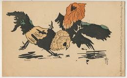 Art Nouveau Sloog Les Maitres De La Carte Postale 2 Eme Serie Combat Coq Cock Fight - Künstlerkarten