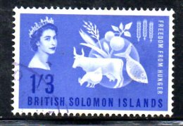 T1491 - SOLOMON 1963 , Yvert N. 98 Usato . Fame - Isole Salomone (1978-...)