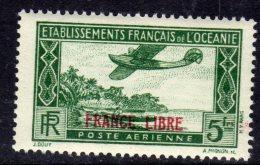 """Océanie PA N° 3 XX  5 F. Vert Surchargé """"France Libre"""" Sans  Charnière TB"""
