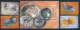 MACEDONIA 2002 Ancient Coins Set + Block MNH / **.  Michel 245-48 + Block 9 - Macedonia