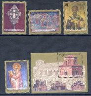 MACEDONIA  2000 Bimillenary Of Christianity Set + Block  MNH / **.  Michel 182-86 + Block 7 - Macedonia