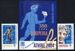 ALBANIA 2004 Athens Olympic Games Set Of 2 + Block MNH / **.  Michel 2974-75, Block 152 - Albania