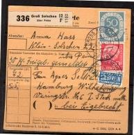 Paketkarte Gross Solschen Posthorn 50 Pfennig 1954 > Eigebrecht (146) - BRD