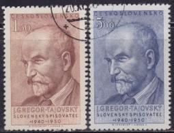 1(283). Czechoslovakia 1950 Poet Jozef Gregor-Tajovský, Used (o) Michel 636-637 - Tchécoslovaquie