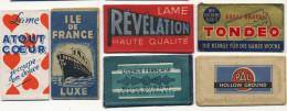 Collection 6 Lames Rasoir 6 Razor Blades Atout Coeur, Ilede France Paquebot, Revelation, Pal Blade Plattsburg NY, Tondeo - Autres