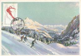 D26594 CARTE MAXIMUM CARD RR 1961 ROMANIA - SKIING SLALOM CP ORIGINAL - Skiing