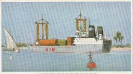 - Gravure 290mm X 170mm ATLAS - Navire Porte-usine à SUEZ , Signée Roger CHAPELET - 200 - Cartes
