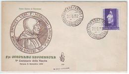 1952 - FDC VENETIA CLUB N. 154 - SAVONAROLA -   NON VIAGGIATA - FDC