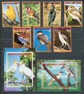 EQUATORIAL GUINEA 1976 Mi # 989 - 995 MNH + Block 246 MNH 247 CTO BIRDS AFRICA - Equatorial Guinea