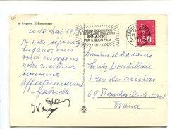 0.50 Type Becquet Sur Carte Postale Oblitération Suisse Cinema Scolastico...11.5.1971 - Marcophilie (Lettres)