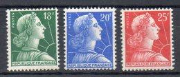 FRANCE 1955 - Marianne De Muller (Lot De 3 Valeurs) - N° 1011A à 1011C  - (**) - Unused Stamps
