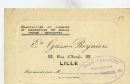 Manufacture De Lingerie Et Confection  De Dames Ets GUSSE Reyniers Rue D'Artois LILLE - Visiting Cards
