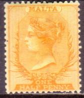 MALTA 1881 SG #13 ½d MH Yellow Wmk Crown CC CV £150 - Malta (...-1964)