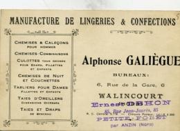 Manufacture De Lingeries & Confections Alphonse GALIEGUE Rue De La Gare WALINCOURT - Cartoncini Da Visita